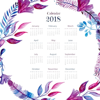 Calendar 2018 with watercolor feathers