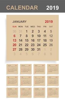 Calendar 2019 on brown paper.
