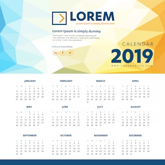 Calendar 2019 colorful template desk office new year