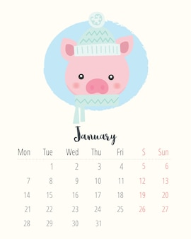 Calendar 2019. cute pig. january month.