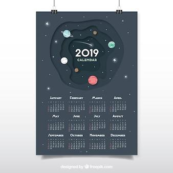 Calendar for 2019 in flat design