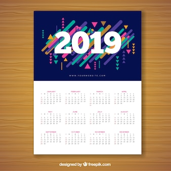 Calendar for 2019 in memphis style