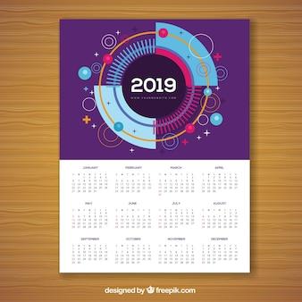 Calendar for 2019 in memphis style