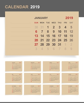 Календарь 2019 на коричневой бумаге.