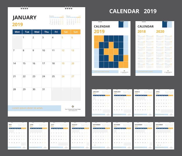 Calendar 2019 for template design  starts week on monday.