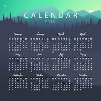 Calendar 2019 Template with Landscape
