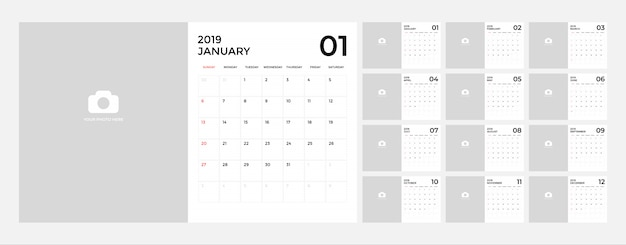 Calendar 2019 Vectors, Photos and PSD files | Free Download