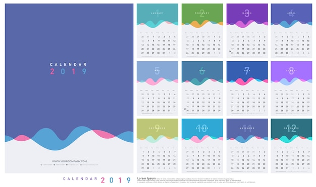 Calendar 2019 trendy gradients wave with pastel color style