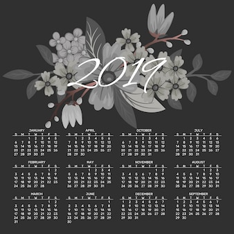 Calendar 2019 vector design template of spring flowers.