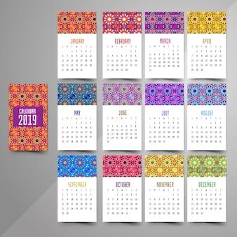 Календарь 2019. винтажный декоративный элемент