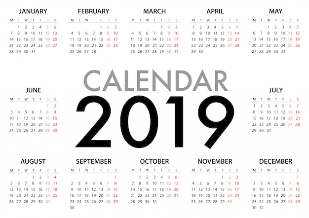 Calendar for 2019 week starts monday