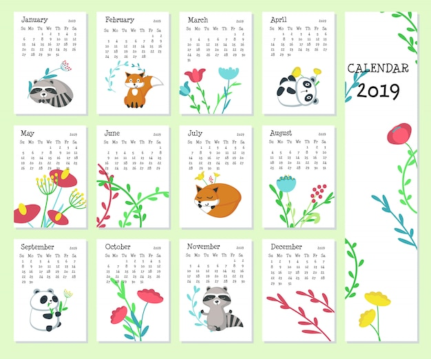 Calendar 2019 with cute animals
