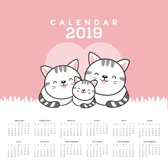 Calendar 2019 with cute cats. hand drawn vector illustration