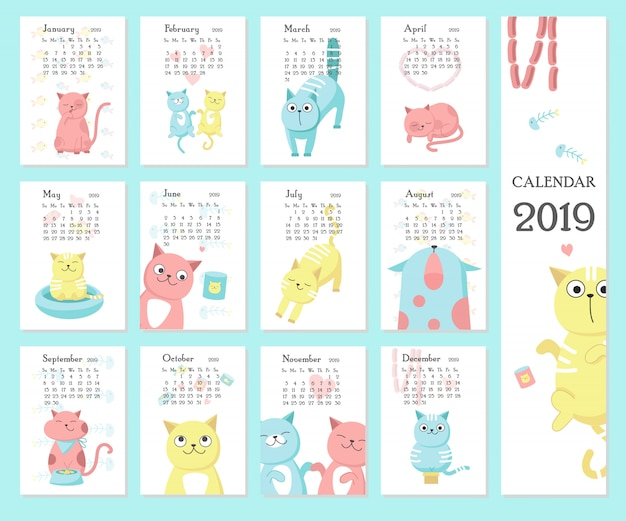 Calendar 2019 with cute cats