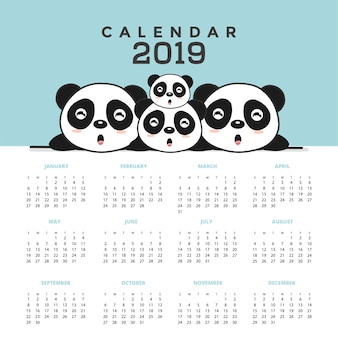 Calendar 2019 with cute pandas. hand drawn vector illustration
