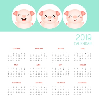 Calendar 2019 with cute pigs. hand drawn vector illustration