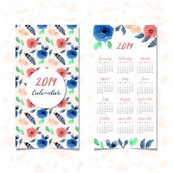 Calendar 2019 with floral watercolor seamless pattern
