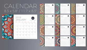 Calendar 2019 with mandalas