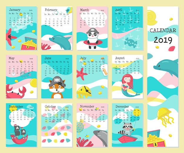 Calendar 2019 with pirate animals