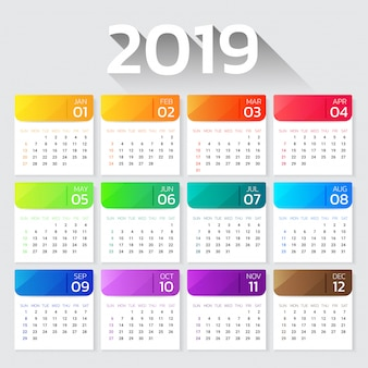 Calendar 2019 year colorful gradient template.