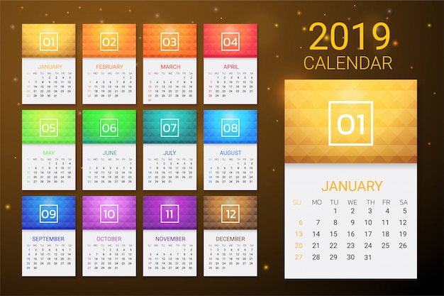 Calendar 2019 year colorful gradient template