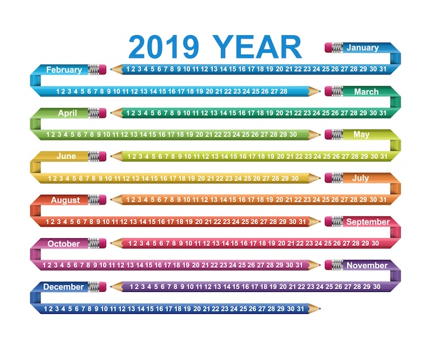 Calendar 2019 year.