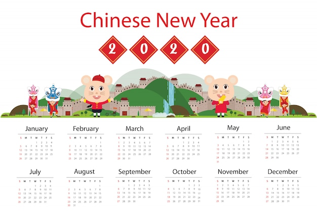 Calendar 2020 and great wall of china