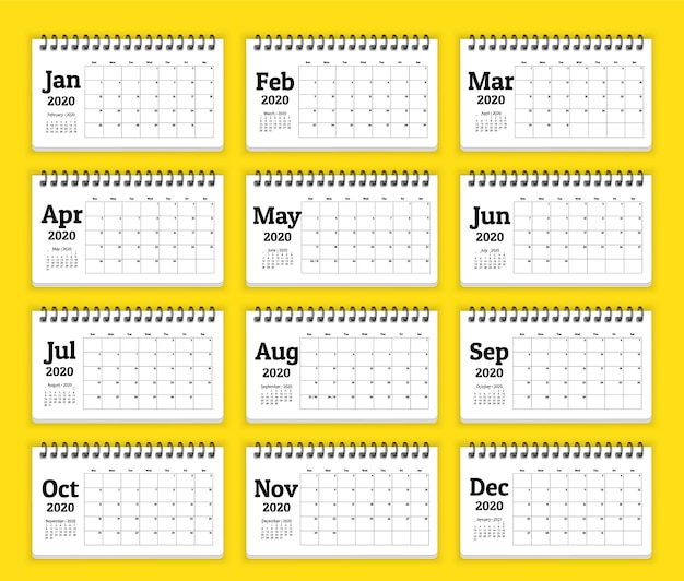 Calendar 2020 planner template. set of 12 months.