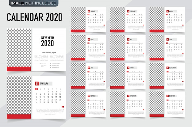 Calendar 2020 template planner. vector new year calendar in clean and simple style