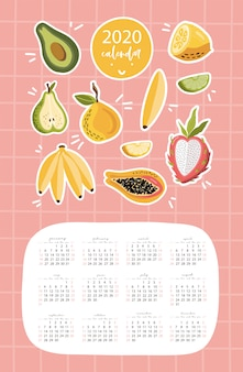 Calendar 2020 template with fruits.