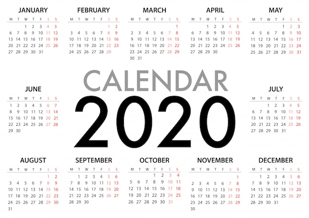 Calendar for 2020 week starts monday. simple design template