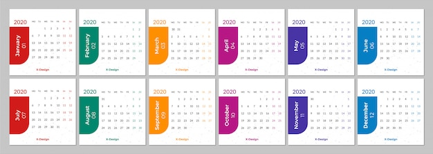 Calendar for 2020 week starts monday