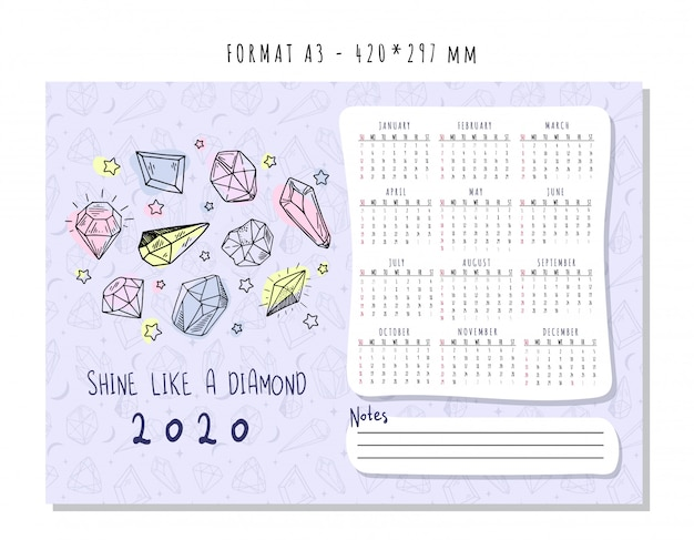 Calendar for 2020 with colored geometric crystals or gems, jewelry diamonds and precious stones