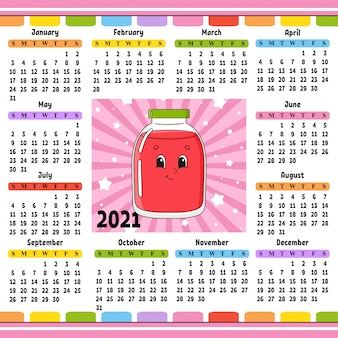 Calendar for 2020 with a cute character. fun and bright design.