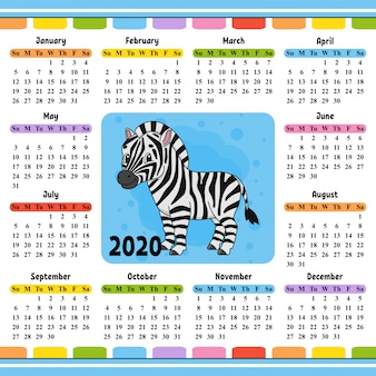 Calendar for 2020 with a cute character.