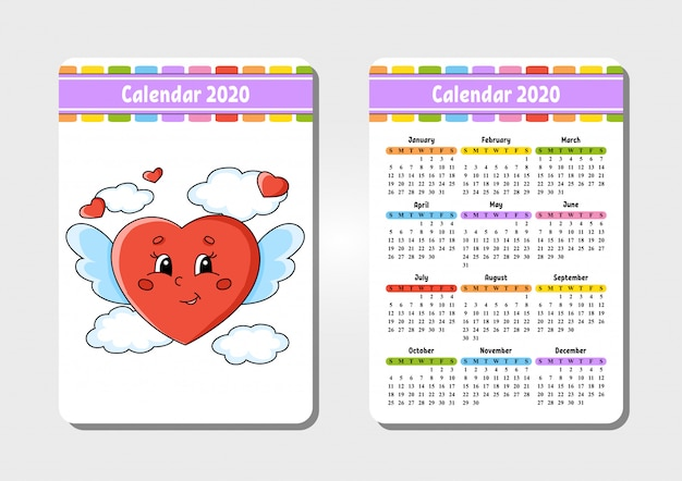 Calendar for 2020 with a cute heart character.