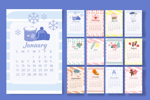 Calendar 2020 with seasonal elements