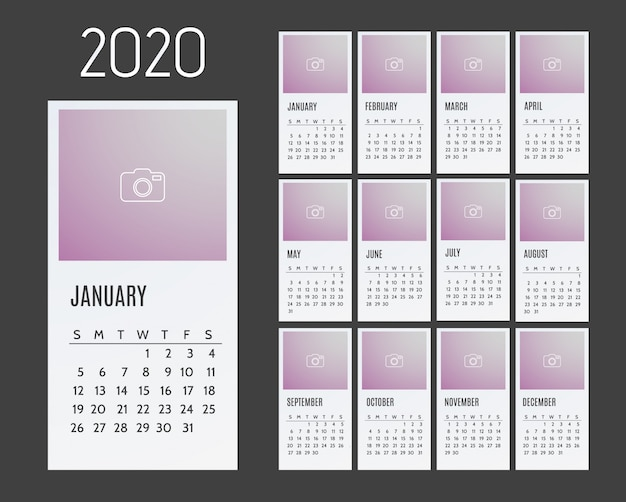 Calendar for 2020 years. week starts from sunday.