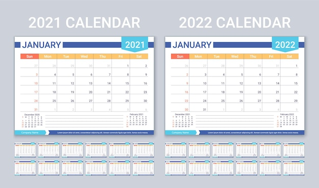 Calendar for 2021 2022 years planner calender template week starts sunday