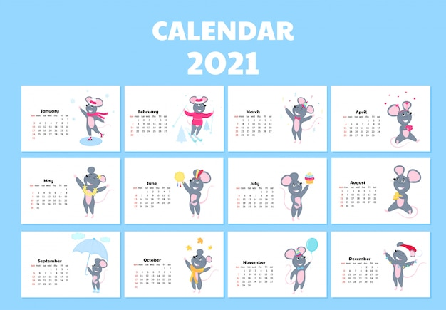 Calendar for 2021 from sunday to saturday. cute rats in different costumes. mouse cartoon character.