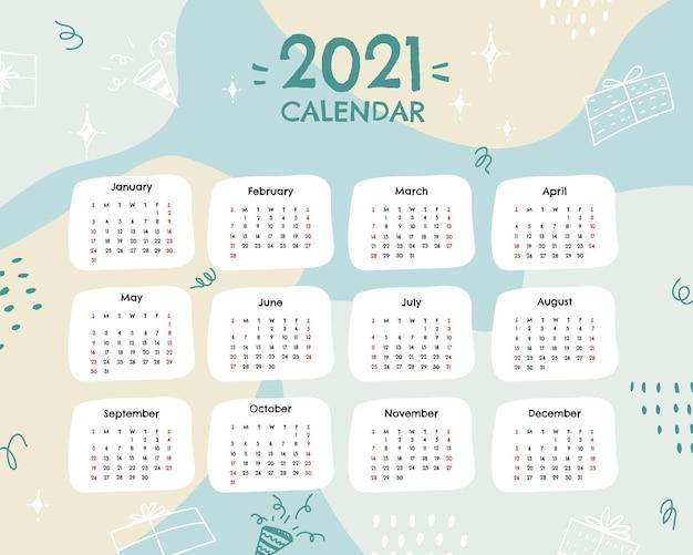 현대적인 스타일의 달력 2021