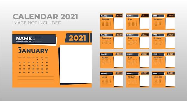 달력 2021, 사진을위한 장소가있는 데스크 캘린더 템플릿 디자인 설정