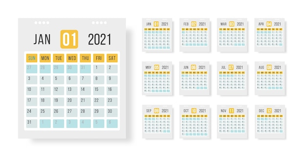 Calendar 2021 template layout. 12 months yearly calendar set in 2021 on white background for organization and business. illustration for web, reminder, planner.