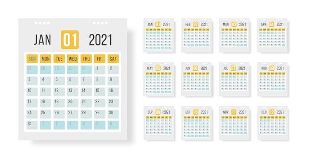 달력 2021 템플릿 레이아웃. 조직 및 비즈니스를위한 흰색 배경에 2021 년 12 개월 연간 달력 설정. 웹, 알림, 플래너에 대 한 그림입니다.