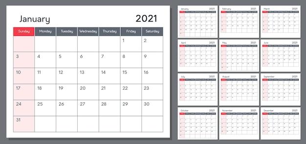 Calendar for 2021 template