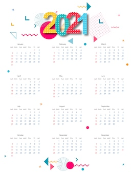 Calendar 2021 with abstract geometric design. template.