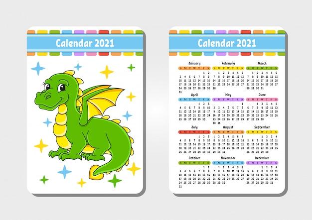 Calendar for 2021 with a cute character. fairytale dragon.