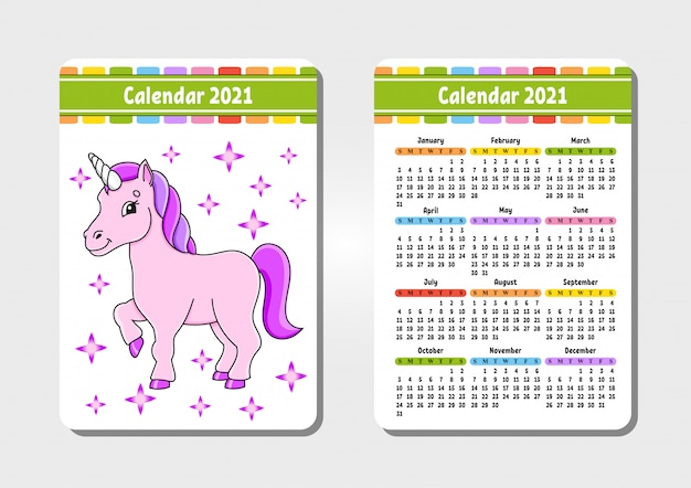 Calendar for 2021 with a cute character. magical unicorn. pocket size.