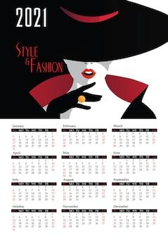 ポップアートスタイルのファッション女性とカレンダー2021