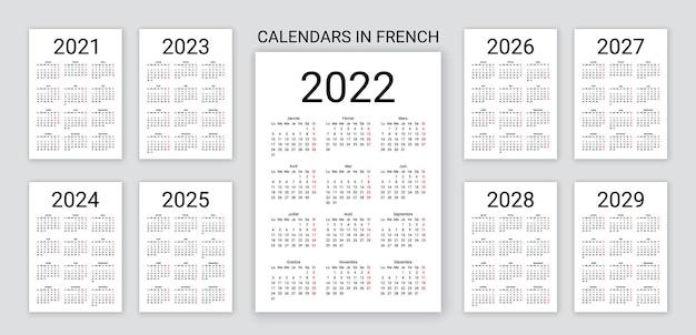 Календарь 2022, 2023, 2024, 2025, 2026, 2027, 2028 лет на французском языке. векторная иллюстрация. настольный планировщик.